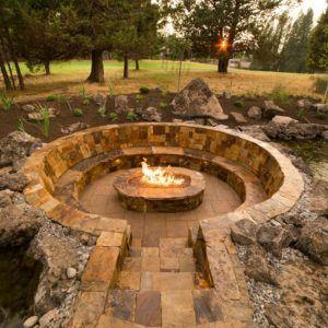 Garden Circular Stone Seating With Sunken Fire Pit Backyard Garden Outdoor Large Garden Stone G Outside Fire Pits Rustic Fire Pits Outdoor Fire Pit Designs