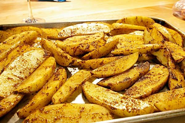 Baked French Fries with chili powder!
