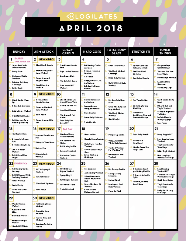April 2018 Workout Calendar Blogilates Blog Posts Workout