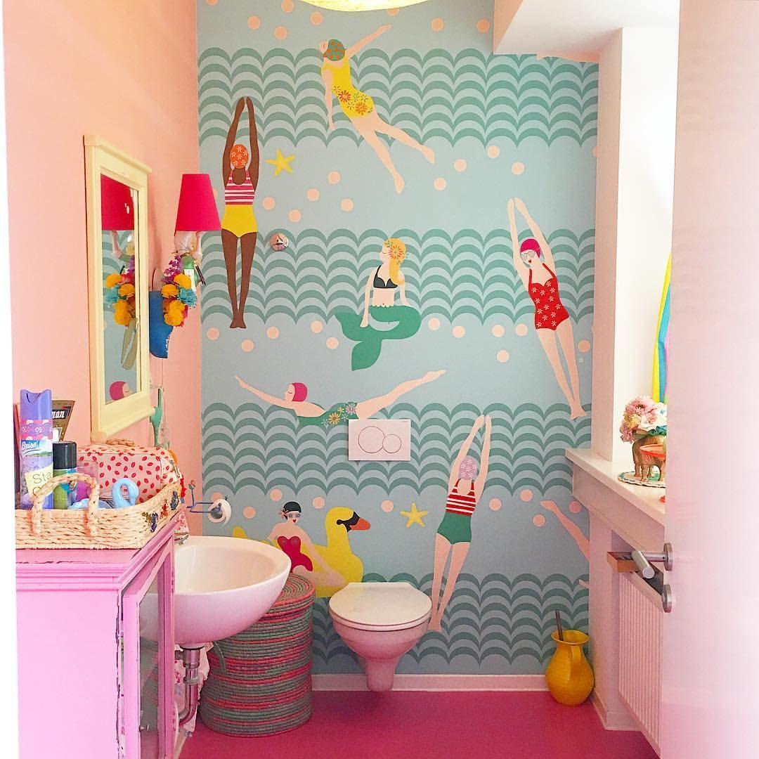 wallpaper bathroom rice denmark / showroom hamburg   cosy home, Badezimmer ideen