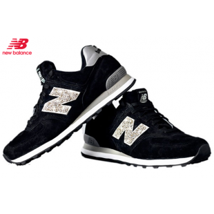 reputable site 0a027 520cf Men's/Women's New Balance 574 Swarovski Sneakers Black/Gold ...