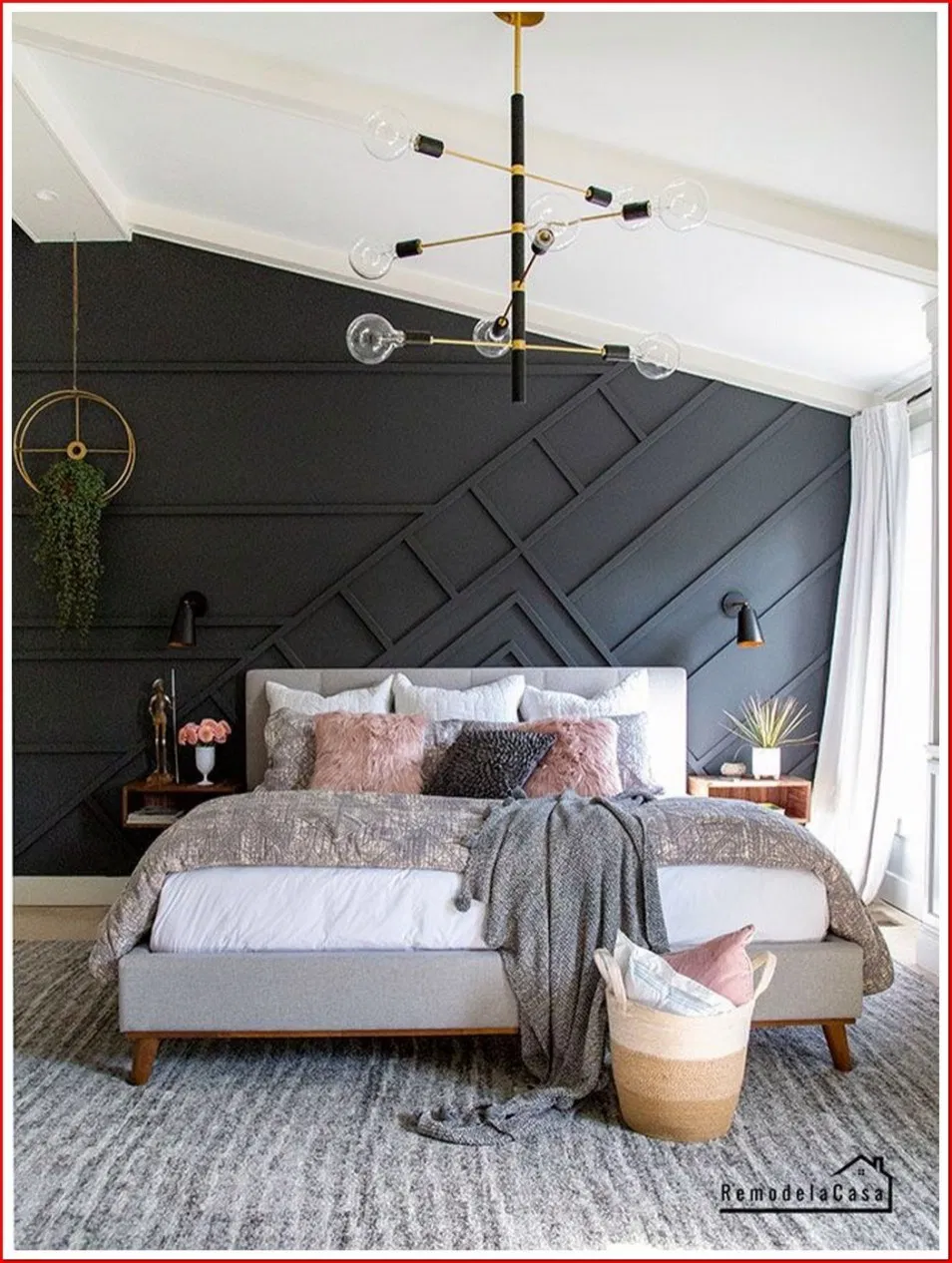 12 Fancy Wall Decor Ideas To Beautify Your Bedroom 00010 In 2020 Mid Century Modern Master Bedroom Modern Master Bedroom Mid Century Modern Bedroom,Pendant Dining Table Lighting Ideas
