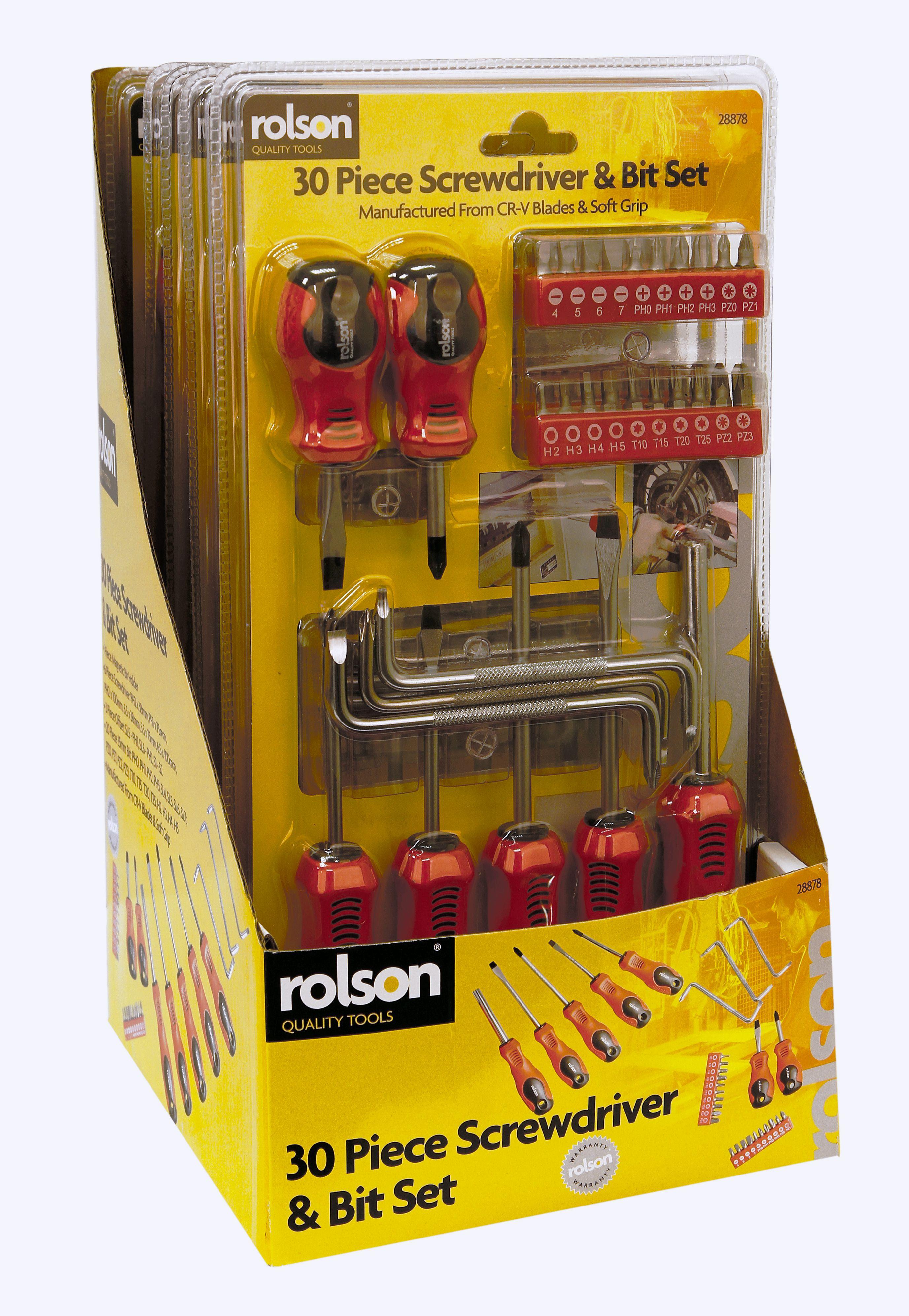 rolson stock no 28878 description 30pc screwdriver bit set manufactured with