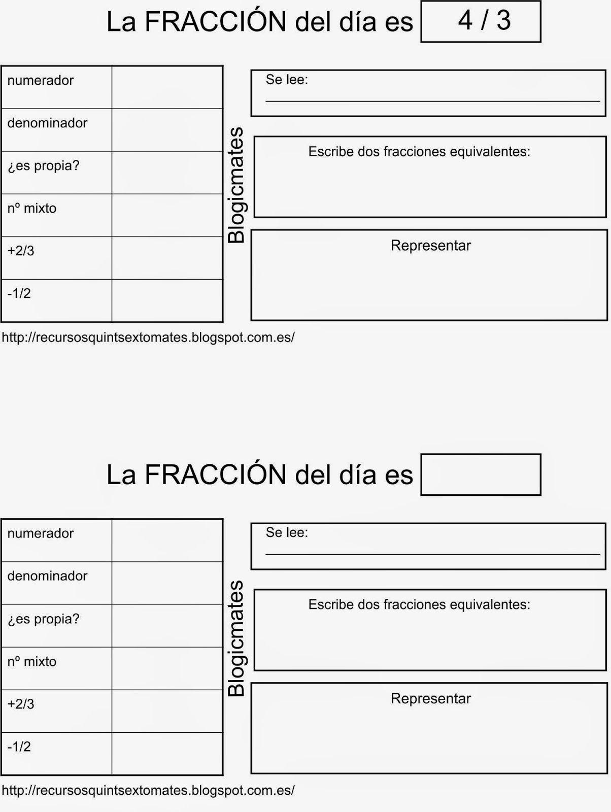 BLOGICMATES: LA FRACCIÓN DEL DÍA ES... | Escuela | Pinterest | Las ...