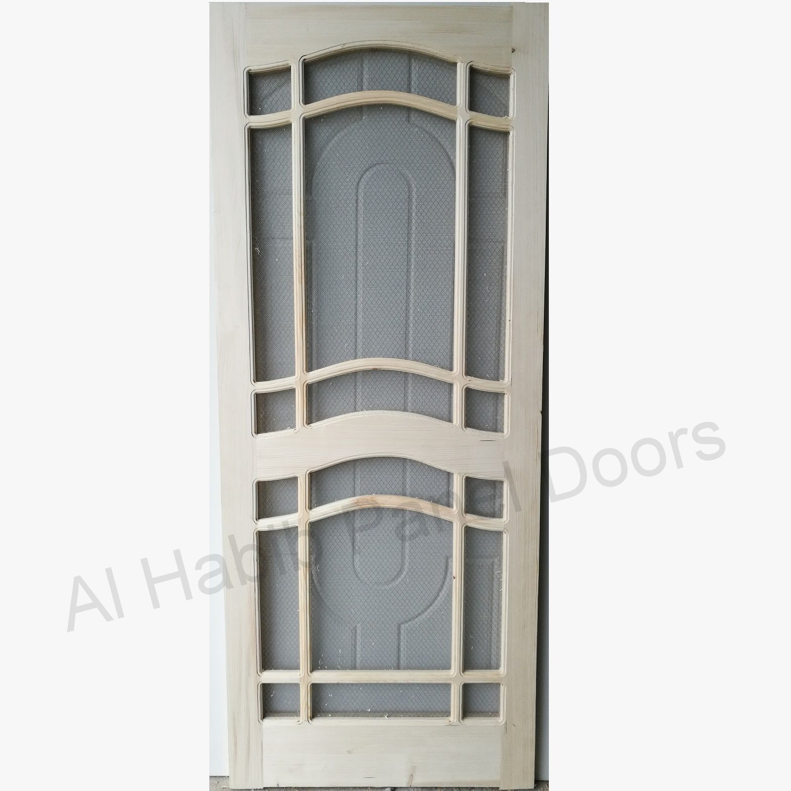 Wooden Wire Mesh Two Panel Curve Door Hpd572 Mesh Panel Doors Al Habib Panel Doors Wooden Panel Doors Room Door Design Steel Door Design
