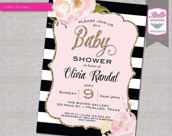 Baby shower invitation paris inspired with gold glitter watercolor baby shower invitation paris inspired with gold glitter watercolor flower diy printable pink filmwisefo