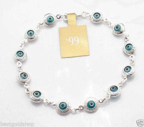 Greek Key Ocean Blue Evil Eye Bracelet Real 925 Sterling Silver Ebay