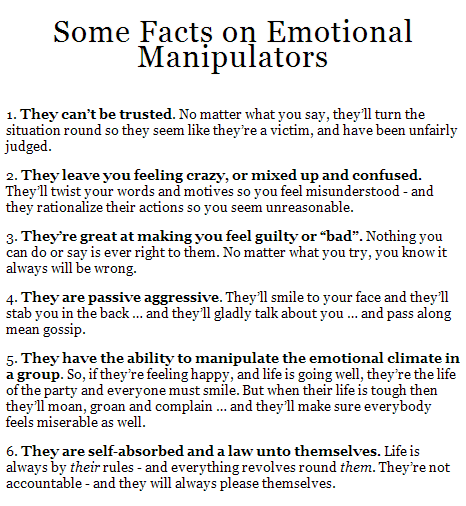Dealing with an emotional manipulator