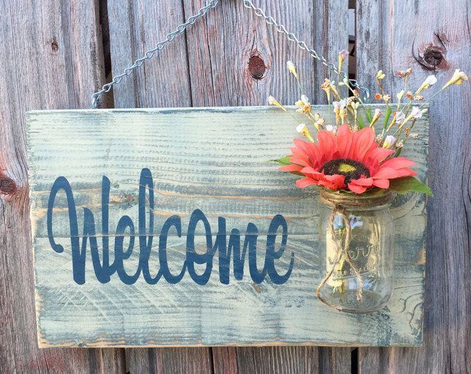 Welcome Sign Decor Captivating Mason Jar Welcome Sign  Distressed Welcome Sign  Housewarming Inspiration