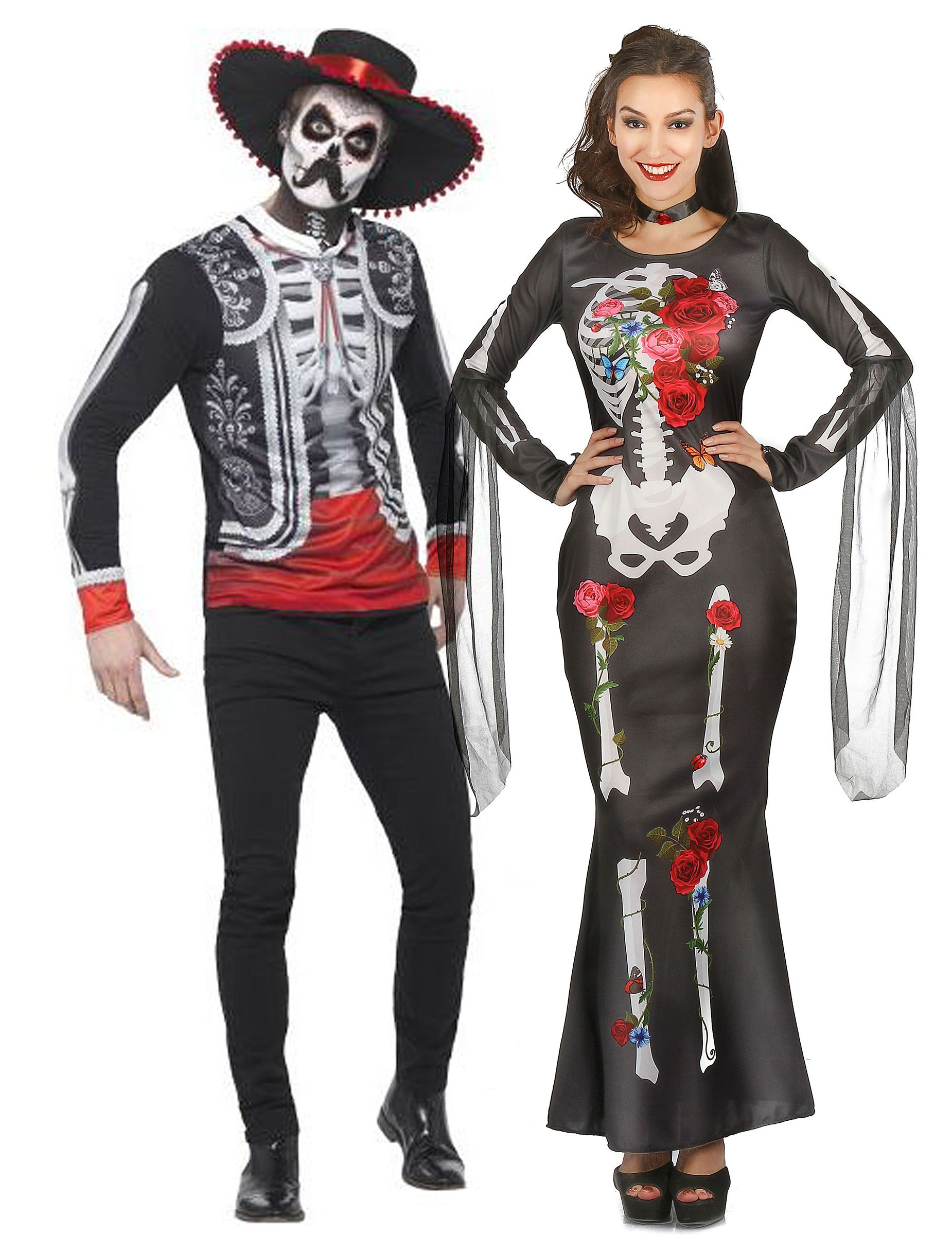Costume di coppia di scheletri dia de los muertos per adulto  Il  travestimento dia de 51ca3cfa6bcb