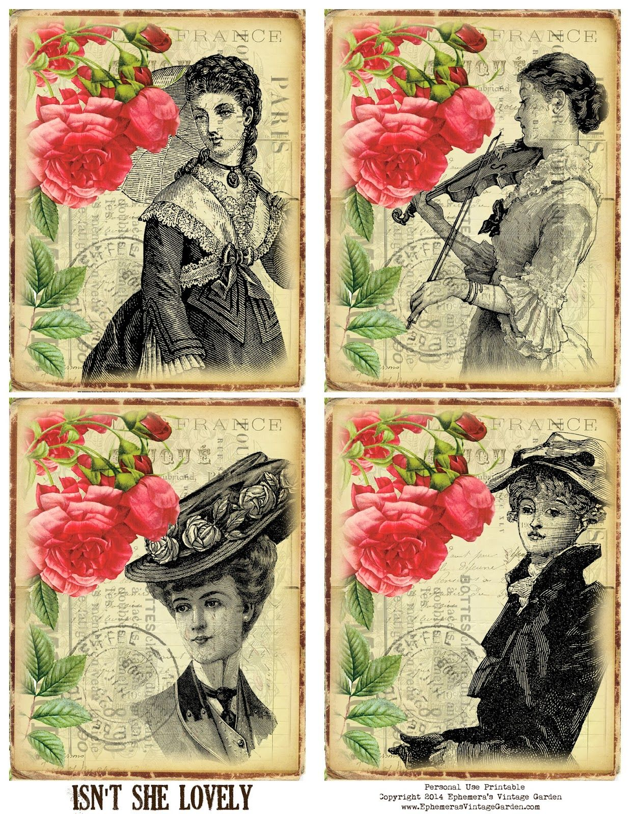 Ephemera S Vintage Garden Rose Printable With Victorian Women