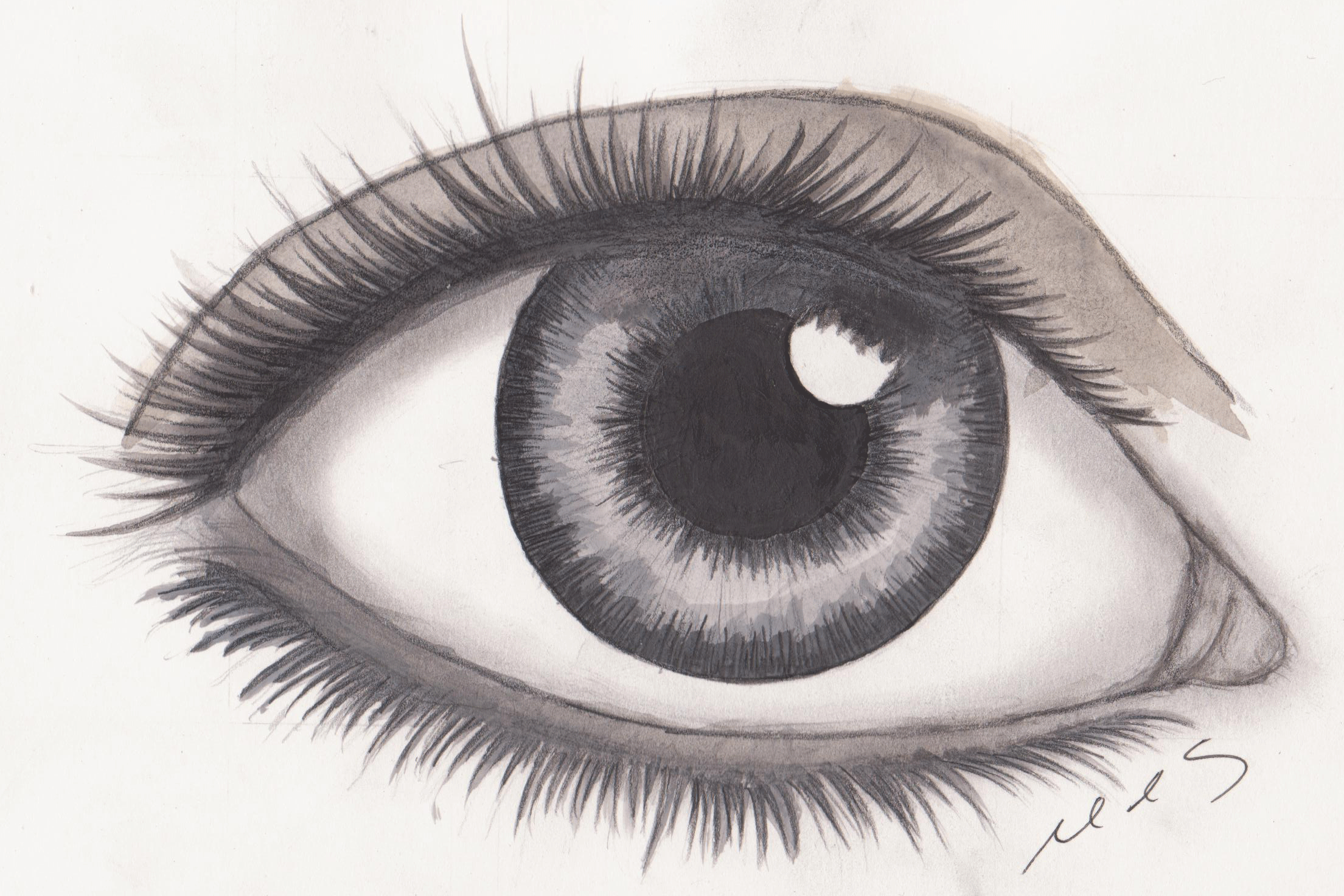 How To Draw Realistic ...Eyes Looking Up Drawing