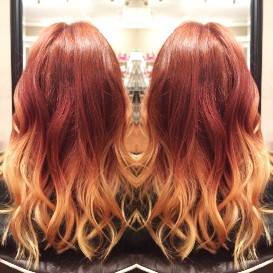 Even though #Halloween is over *sigh* we can still enjoy the bright fall colors!! Gorgeous copper red ombré into rich gold blonde on the ever so wonderful Emily! #nashville #hair #ombre #red #copper #balayage #fall #haircolor #colormelt #hairstylist #copperbalayage