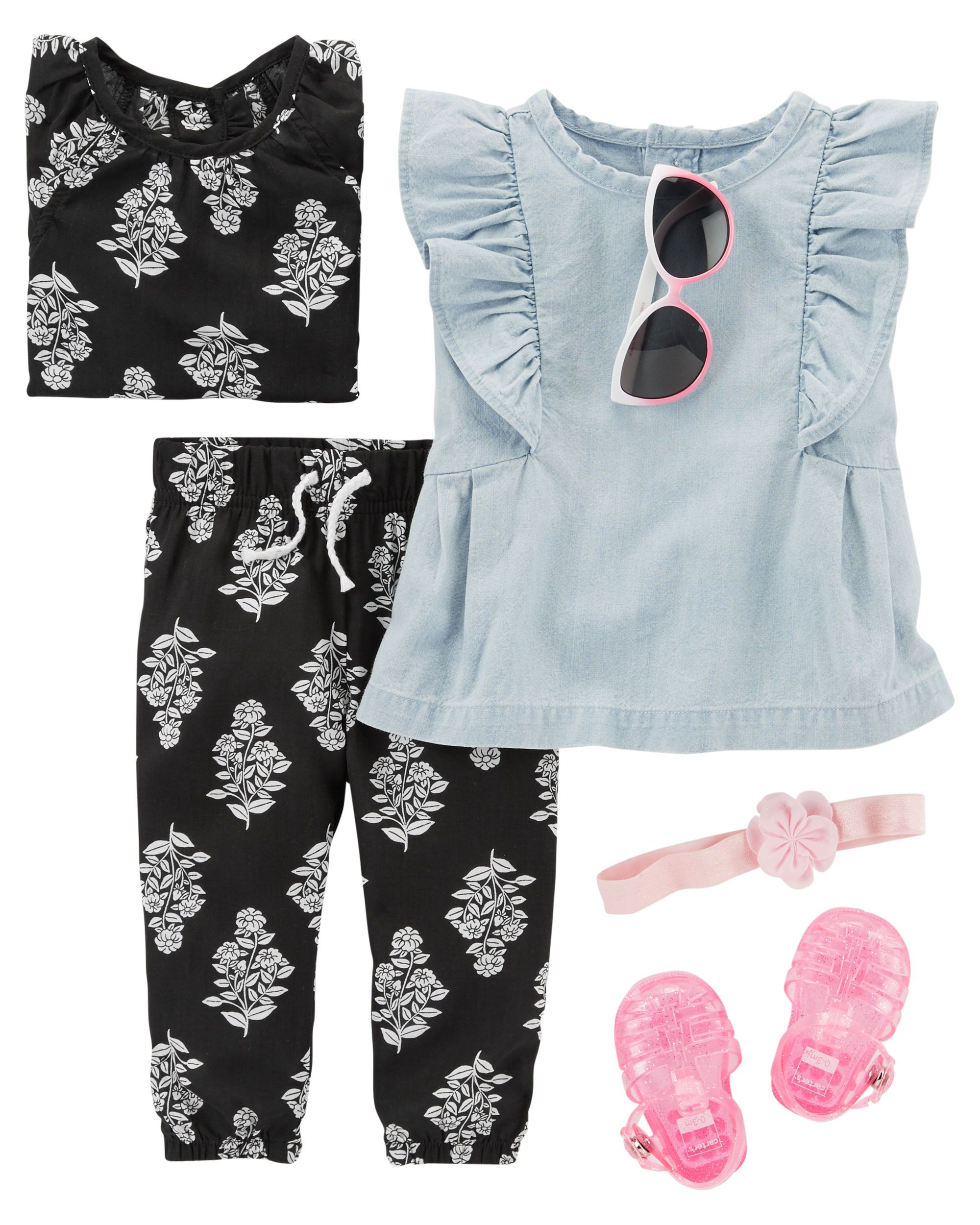 Pink Blue Baby Kids Girls Summer Clothing Set Top Vest Shorts Pajamas Sleepsuit