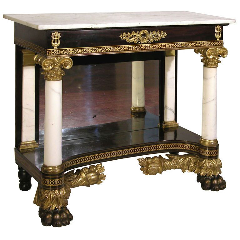 Classical Parcel Gilt Pier Table, New York. Antique TablesMarble TopConsole  ...