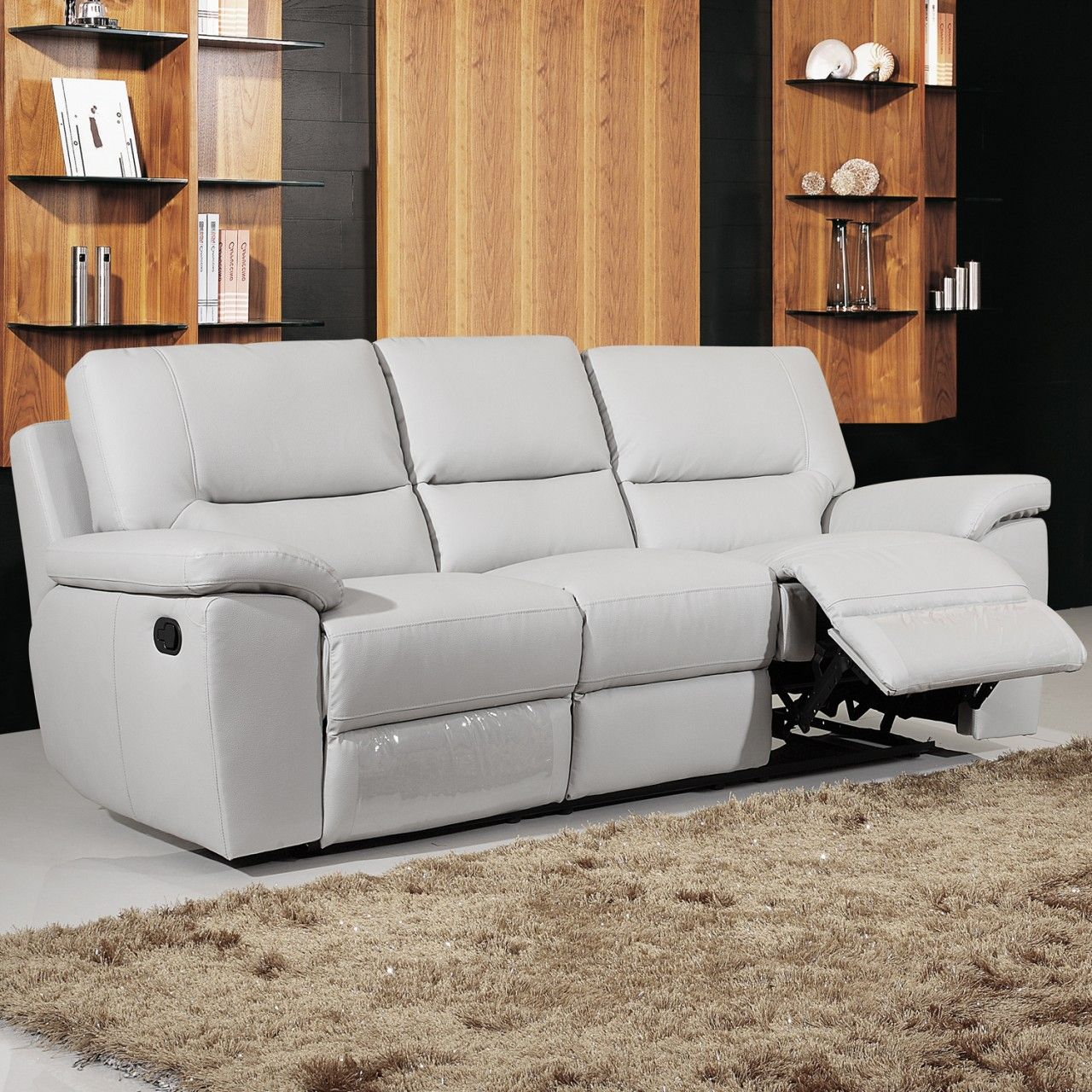 gray leather sofa recliner Grey leather reclining sofa