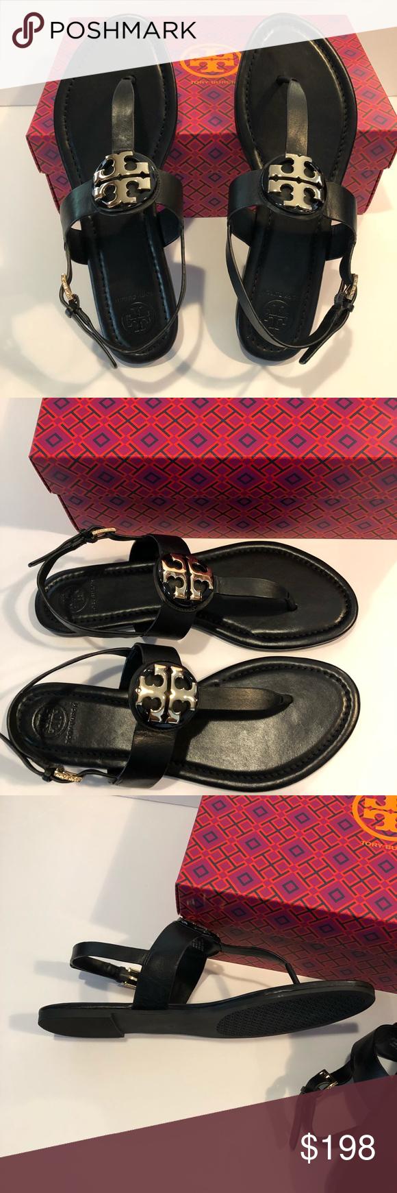d2353e4965b NIB Tory Burch Bryce Flat thong Sandal Black 9 NIB Tory Burch Bryce Flat  thong Sandal Size 9 Black Shoe Women gold tone hardware Tory Burch Shoes  Sandals