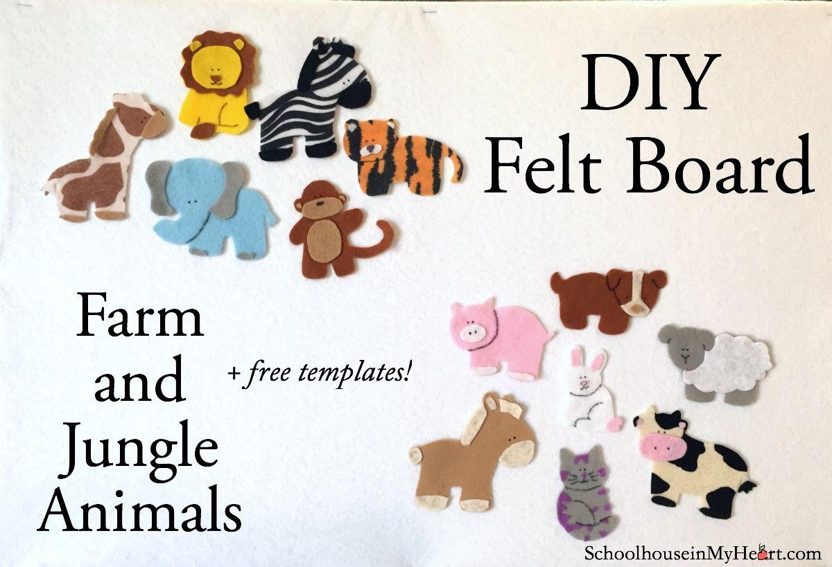 Diy Farm And Jungle Animals Free Templates Diy Felt Board Felt Diy Felt Toys Patterns