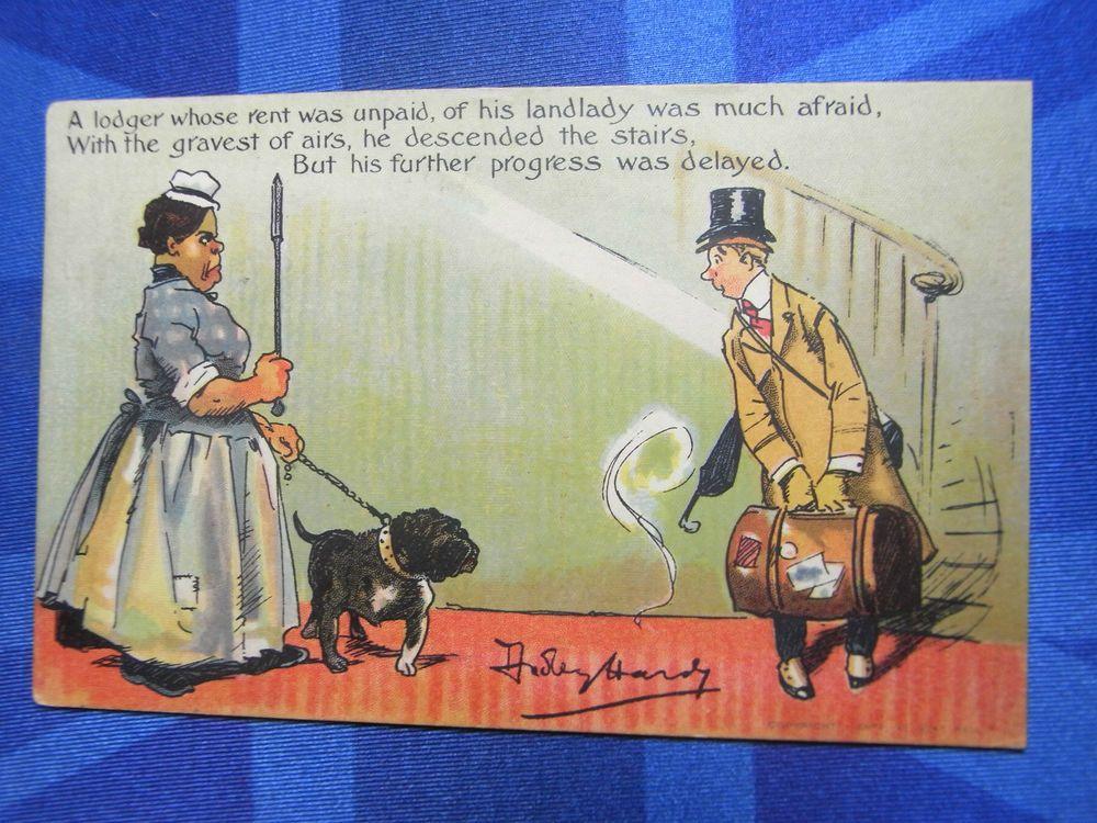 Dudley Hardy Comic Postcard 1905 Bulldog Dog - Lodger Landlady Rent Theme