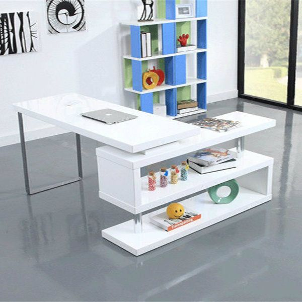 Office White Gloss Rotating Computer Desk And Bookcase Storage Student HouseBookcase StorageLiving Room