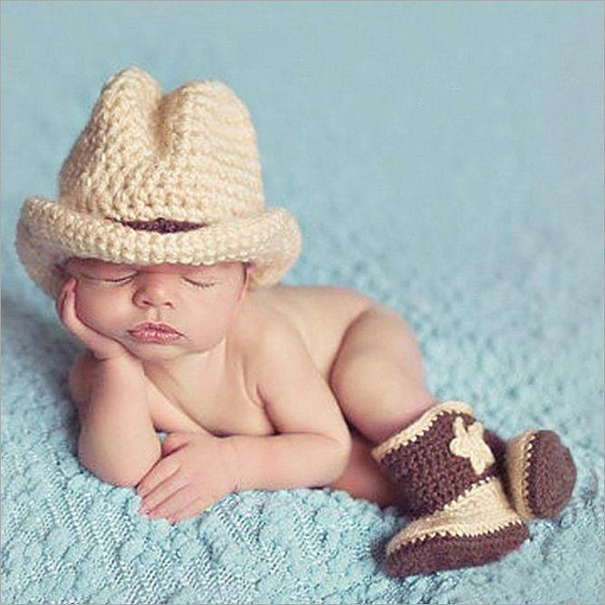 ... a mano Crochet bebé recién nacido fotografía apoyos de la foto de la  historieta accesorios Cap bebé del vaquero niños o niñas sombrero(China  (Mainland)) 04430c55b30