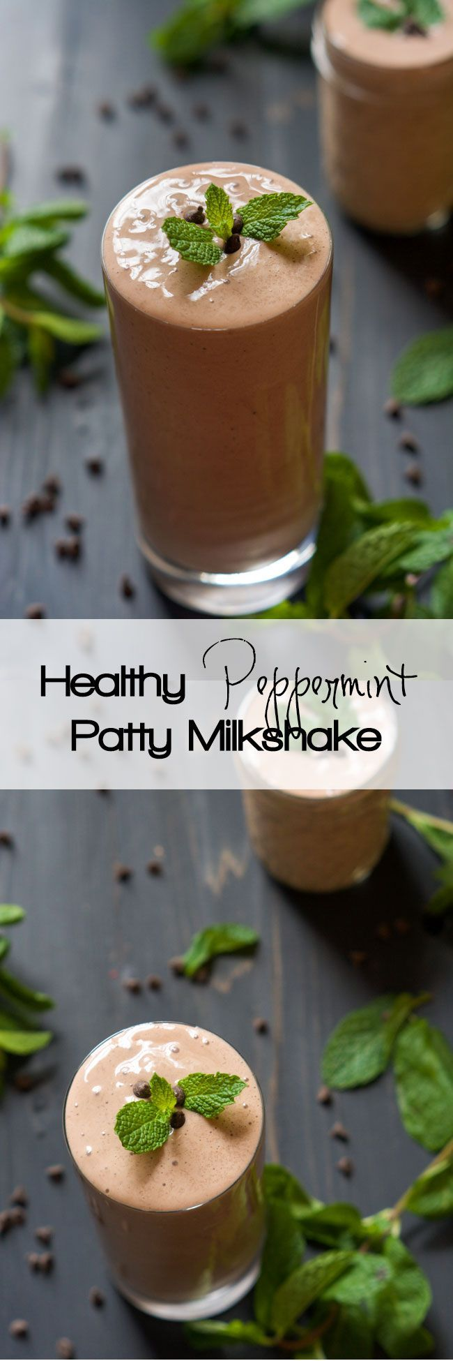 A dessert in a glass! This Skinny Peppermint Patty Shake is full of chocolate and mint! It is healthy enough for a high protein breakfast or quick snack!