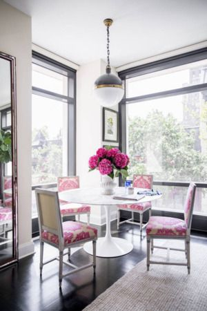 Pretty pinks with white for the dining room. | http://domino.com