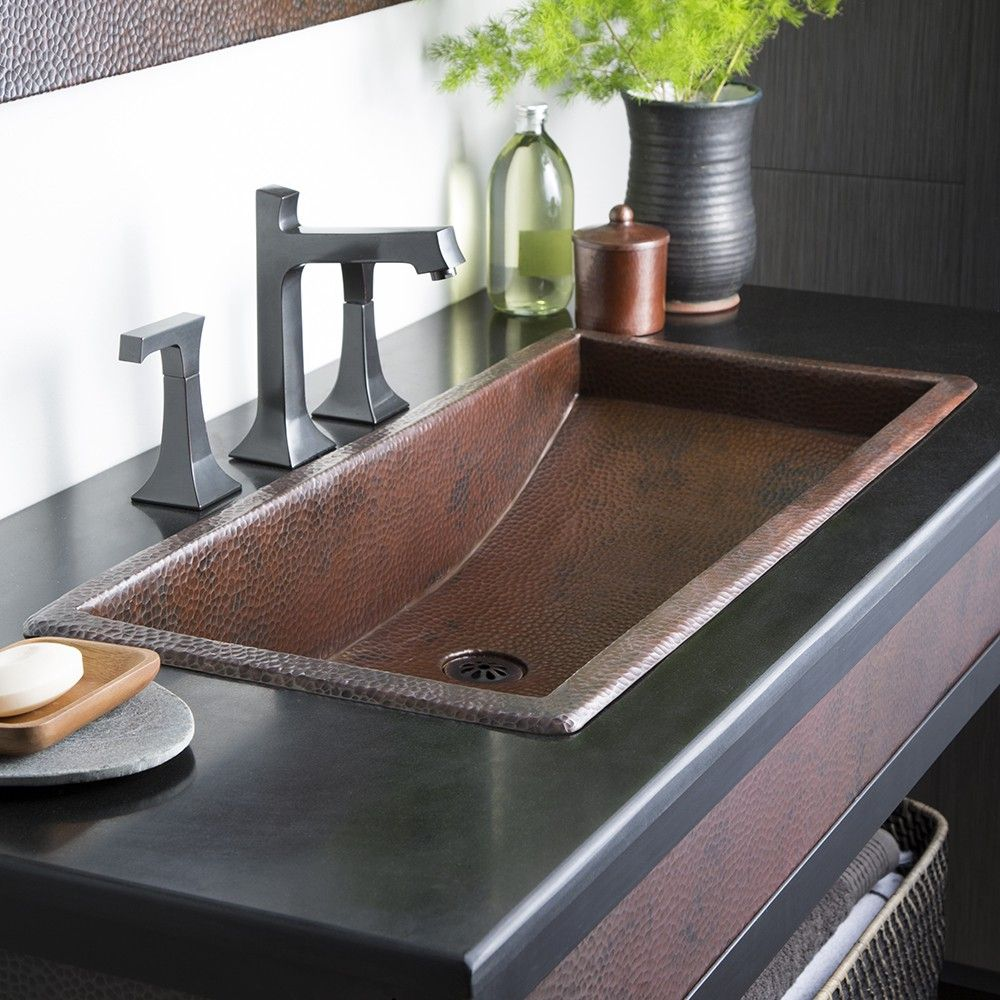Trough 30 30 Inch Copper Trough Bathroom Sink Drop In Bathroom