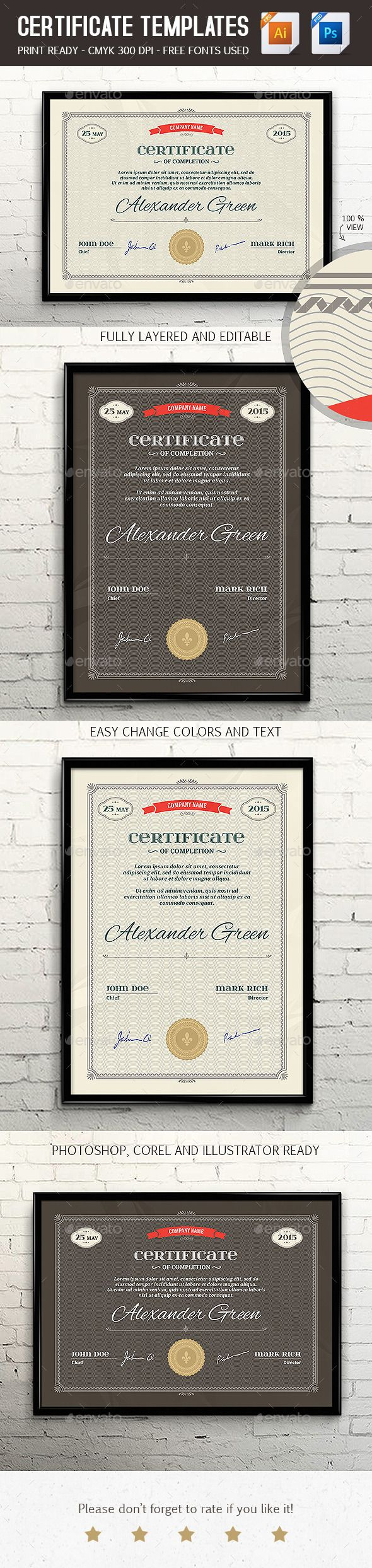 Certificate template psd eps print ready certificate templates certificate template psd eps print ready yadclub Image collections