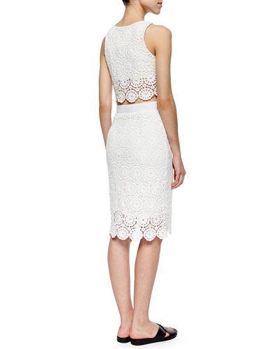 de40e40b14a -5PF1 Miguelina Rosi Floral-Lace Crop Top & Scarlett Floral-Lace Pencil  Skirt