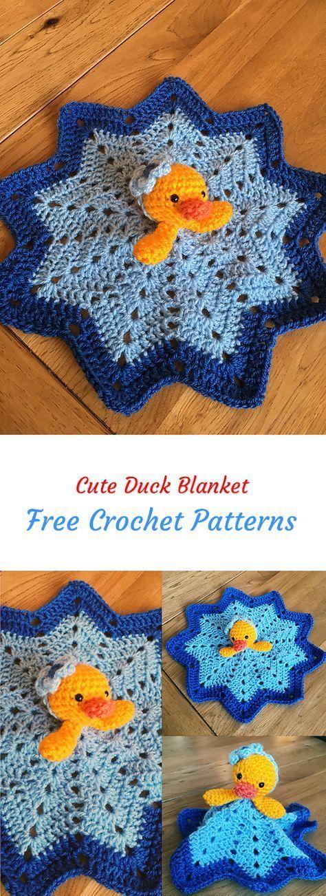 Cute Duck Blanket Free Crochet Pattern #crochet #crafts #homedecor #style #crochetsecurityblanket