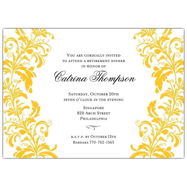 BranchesGoldOnWhiteRetirementDinnerInvitations  Retirement