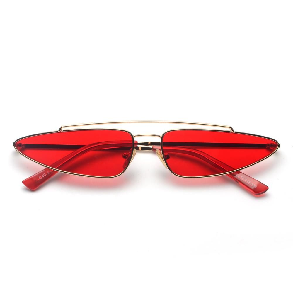 d46f0737356 Peekaboo red triangle sunglasses women cat eye small frame metal yellow  pink fashion vintage retro sun glasses for women 2018