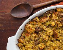 Gluten-Free Cornbread Stuffing and Sauteed Leeks