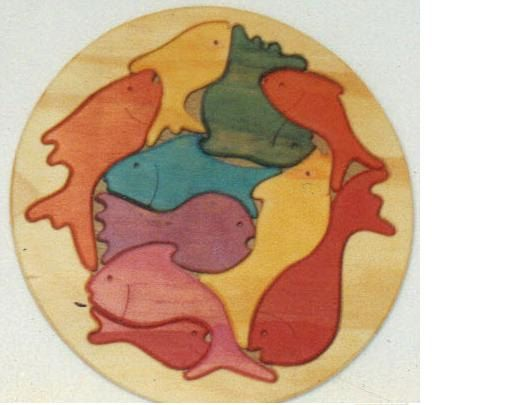 wooden Puzzle Round Fish Theme 11 piece Handmade. by Choo Choo Toys