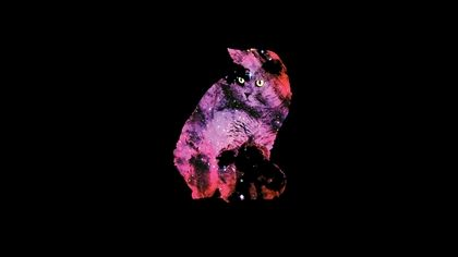 Black Outer Space Minimalistic Cats 1920x1080 Wallpaper Art HD