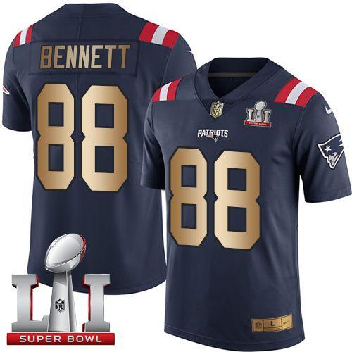 nike patriots 88 martellus bennett navy blue super bowl li 51 mens stitched nfl limited