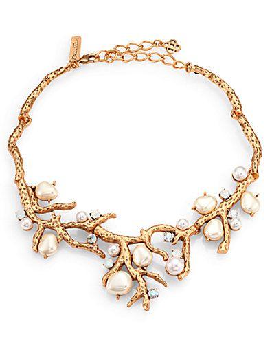 Oscar De La Renta Coral Choker Necklace w/ Swarovski Crystals WsUGE5LQ
