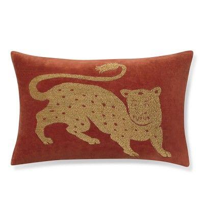 Tibetan Tiger Velvet Pillow Cover, Rust/Gold #williamssonoma