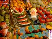 """""""Frutta di Martorana"""". Once apon a time, in Sicily we had a bad famine, so people tried to create fruit in some others ways. One way was using almond flour to create the shape of fruits. Today our culture is still celebrating that time"""