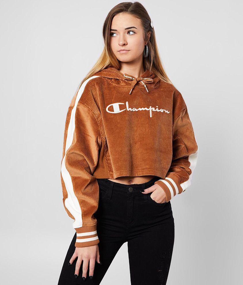 Champion Cropped Corduroy Hoodie Women S Sweatshirts In Brown Sepia Buckle Hoodies Womens Sweatshirts Women Champion Hoodie Women [ 990 x 845 Pixel ]