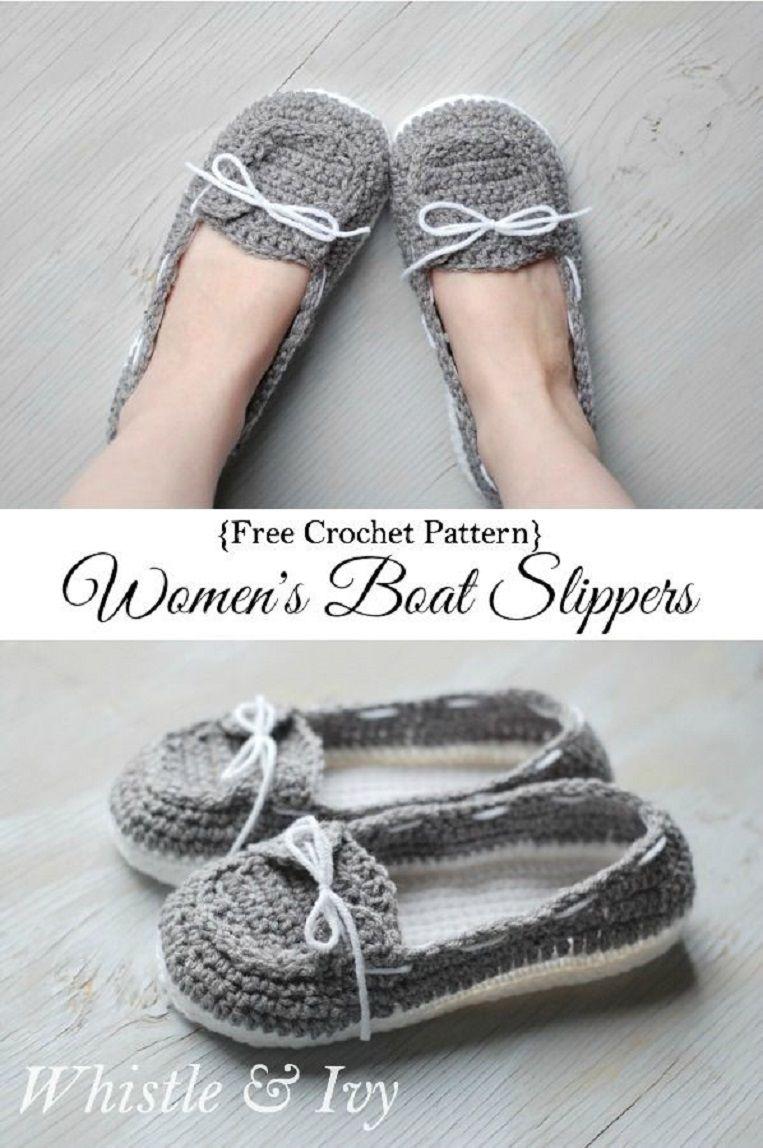 Womens crochet boat slippers white slippers free crochet grey and white slippers free crochet pattern 15 feet warming free crochet slipper patterns bankloansurffo Gallery