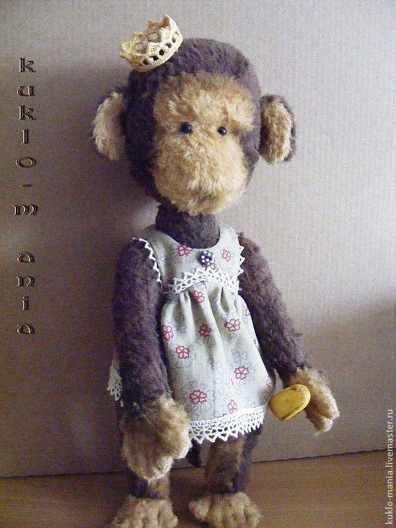 Купить обезьянка Адель - коричневый, обезьянка, тедди, принцесса, игрушка ручной работы, подарок, банан