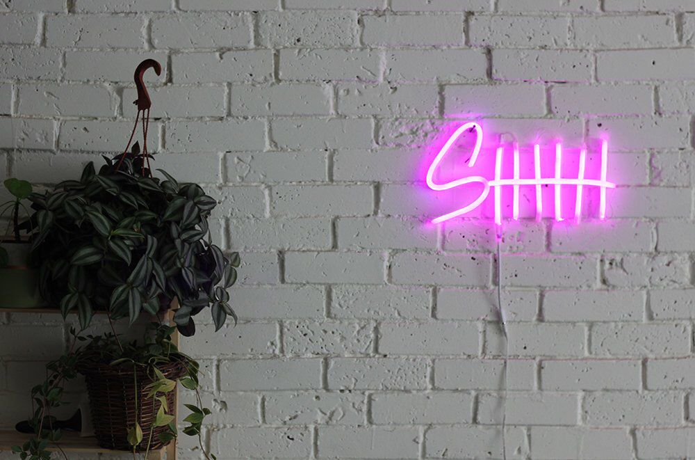 Neon Led Sign For Your Space Shhh Neon Light Led Signs Neon Wall Signs Custom Neon Signs