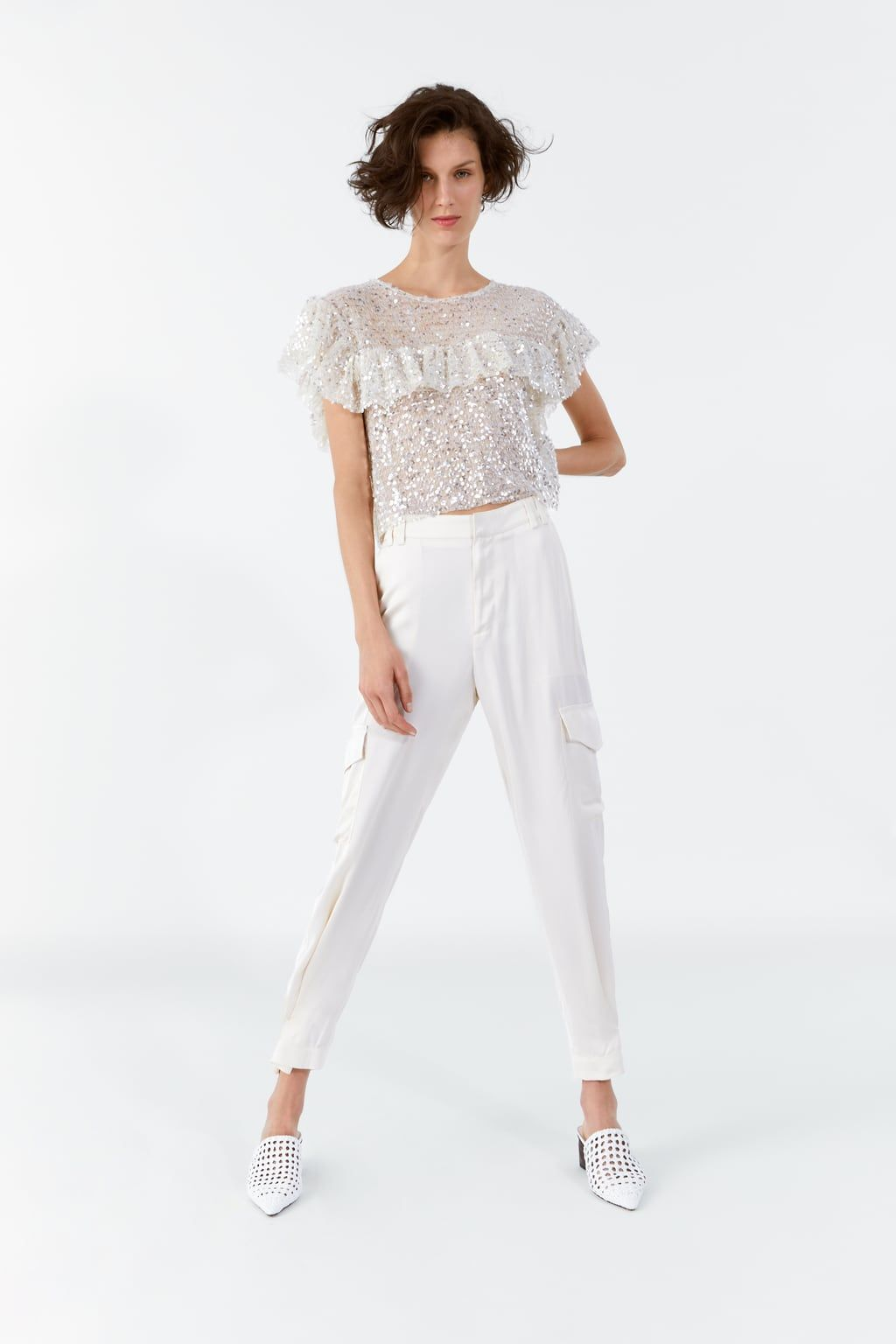 1aac5d37859b6 Sequin top with frill in 2019 | Zara | Sequin top, Sequins, Zara greece