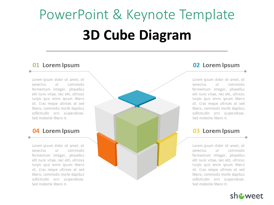 3d Cube Diagram For Powerpoint And Keynote Showeet Powerpoint Diagram 3d Cube