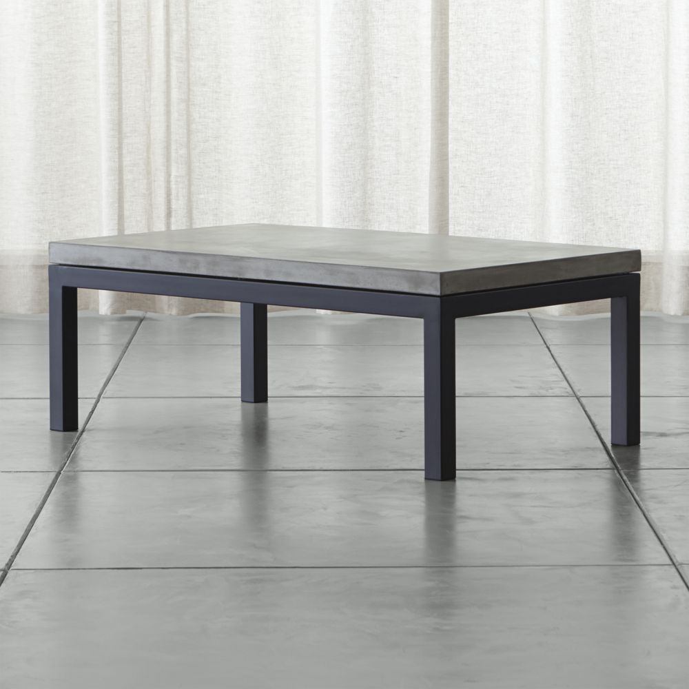 Parsons concrete top dark steel base 48x28 small rectangular parsons concrete top dark steel base 48x28 small rectangular coffee table geotapseo Gallery