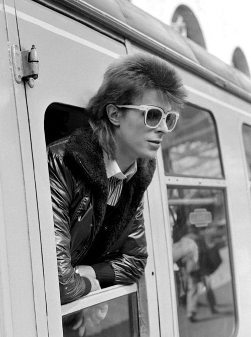 David Bowie ~ Leaning out of Railway Carriage of Paris Boat Train at Victoria Station July 1973