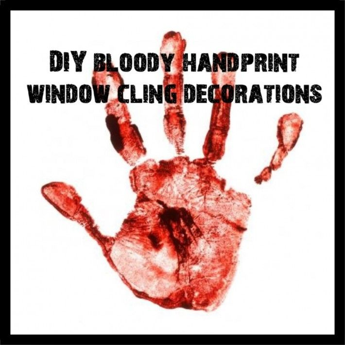 DIY Bloody Handprint Window Clings holidays halloween - halloween window clings