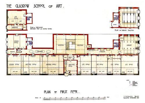 Charles Rennie Mackintosh Glasgow School Of Art Plan Of First Floor By Elaine Mackenzie Glasgow School Glasgow School Of Art Charles Rennie Mackintosh